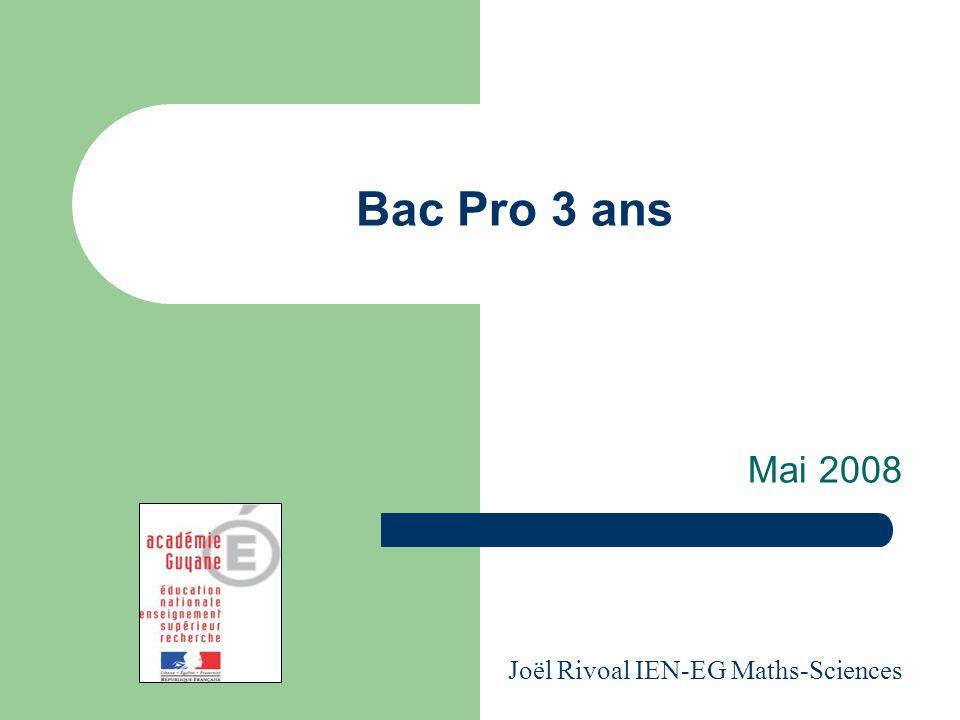 Bac Pro 3 ans Mai 2008 Joël Rivoal IEN-EG Maths-Sciences