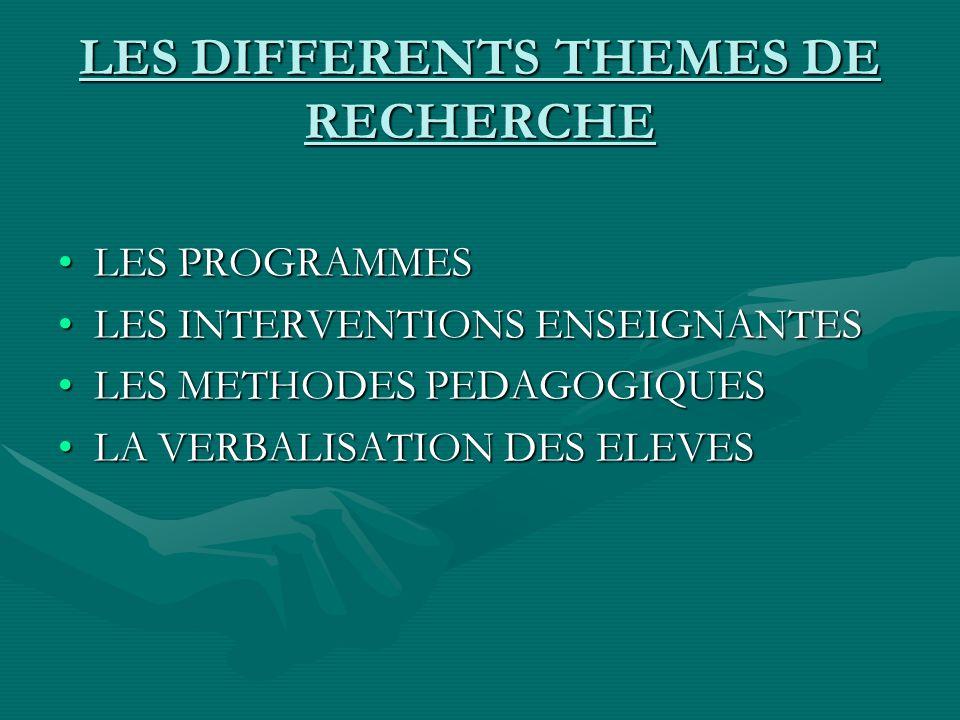 LES DIFFERENTS THEMES DE RECHERCHE LES PROGRAMMESLES PROGRAMMES LES INTERVENTIONS ENSEIGNANTESLES INTERVENTIONS ENSEIGNANTES LES METHODES PEDAGOGIQUESLES METHODES PEDAGOGIQUES LA VERBALISATION DES ELEVESLA VERBALISATION DES ELEVES