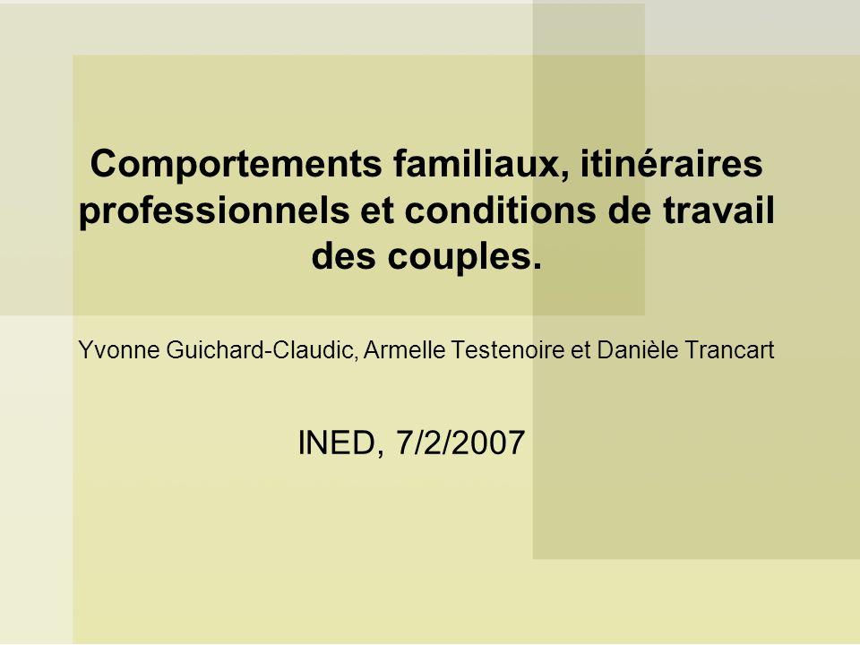Comportements familiaux, itinéraires professionnels et conditions de travail des couples. Yvonne Guichard-Claudic, Armelle Testenoire et Danièle Tranc