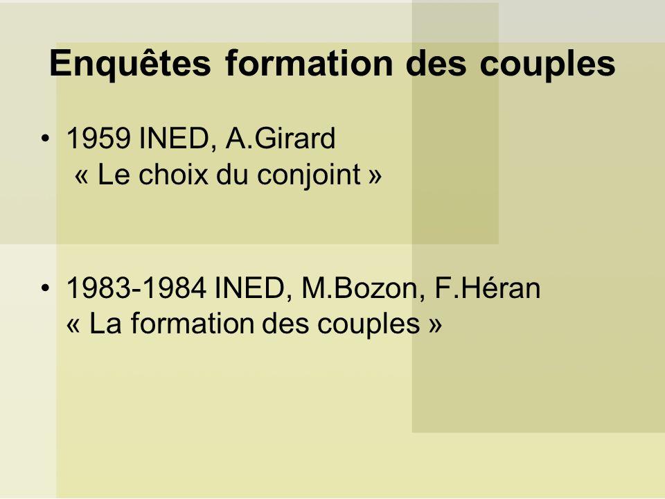 Enquêtes formation des couples 1959 INED, A.Girard « Le choix du conjoint » 1983-1984 INED, M.Bozon, F.Héran « La formation des couples »