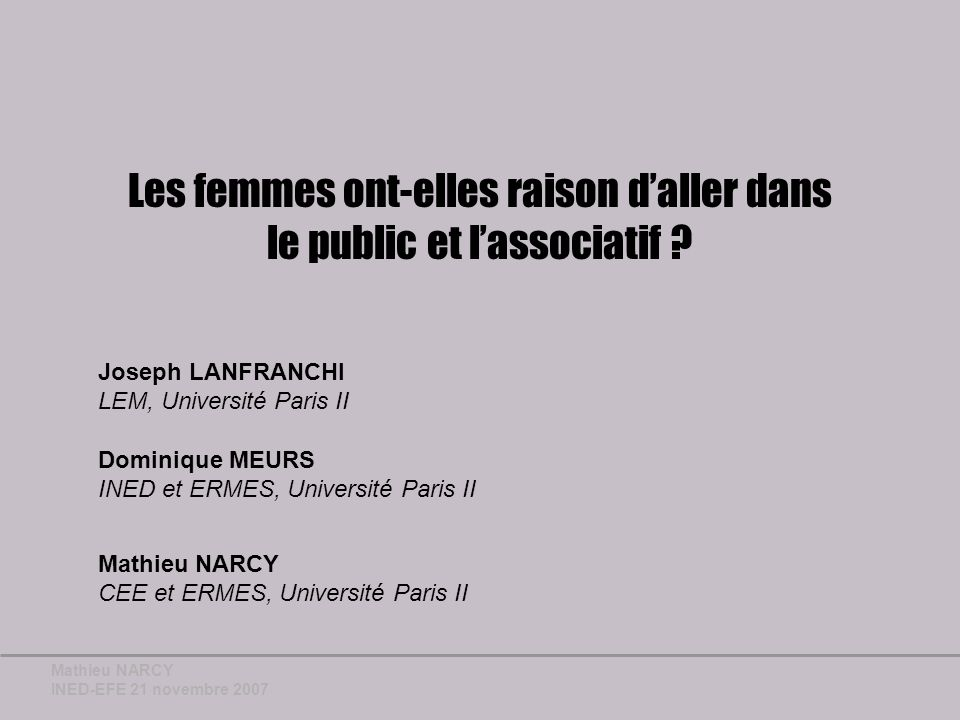 Mathieu NARCY INED-EFE 21 novembre 2007 Lapproche descriptive (7)