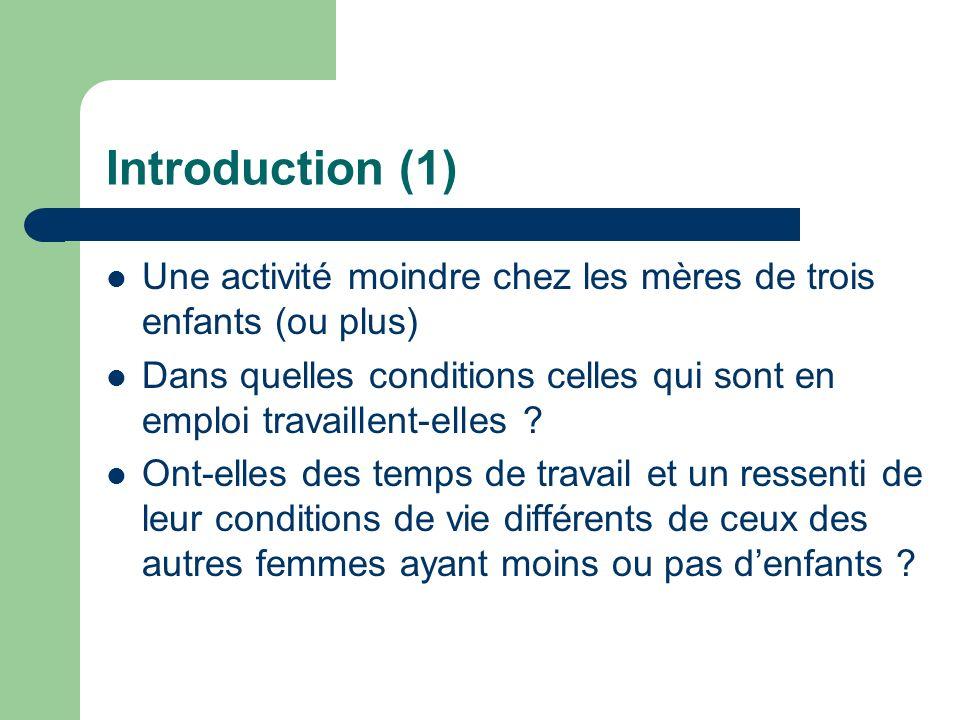 Introduction (1) Une activité moindre chez les mères de trois enfants (ou plus) Dans quelles conditions celles qui sont en emploi travaillent-elles .