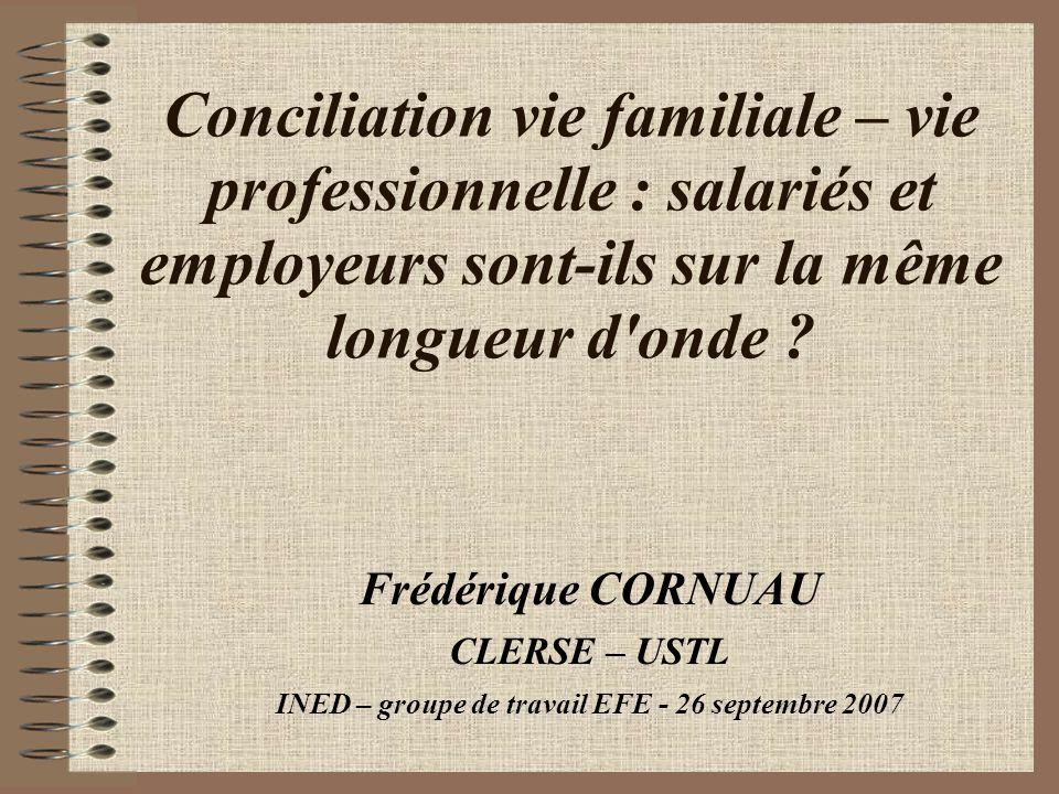 Conciliation vie familiale – vie professionnelle : salariés et employeurs sont-ils sur la même longueur d'onde ? Frédérique CORNUAU CLERSE – USTL INED