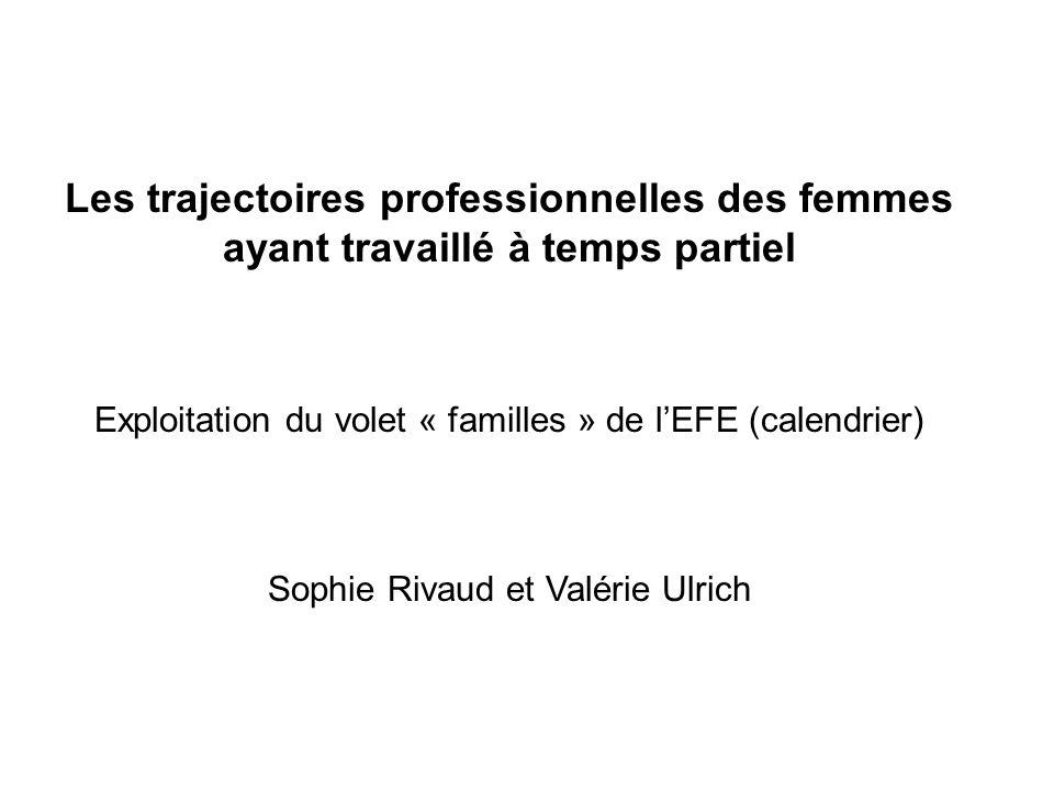 Les trajectoires professionnelles des femmes ayant travaillé à temps partiel Exploitation du volet « familles » de lEFE (calendrier) Sophie Rivaud et Valérie Ulrich