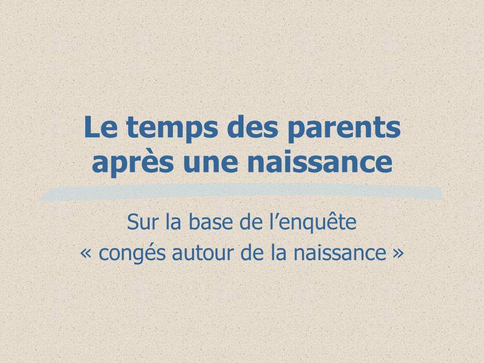 Le temps des parents après une naissance Sur la base de lenquête « congés autour de la naissance »