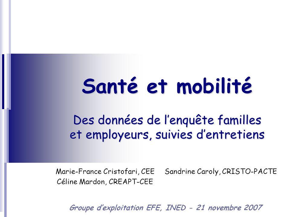 21 novembre 2007 - INED2 Des relations mobilité et santé Lactivité de conciliation vie familiale et vie professionnelle est décrite à travers la lecture du parcours professionnel et des mobilités qui le composent.