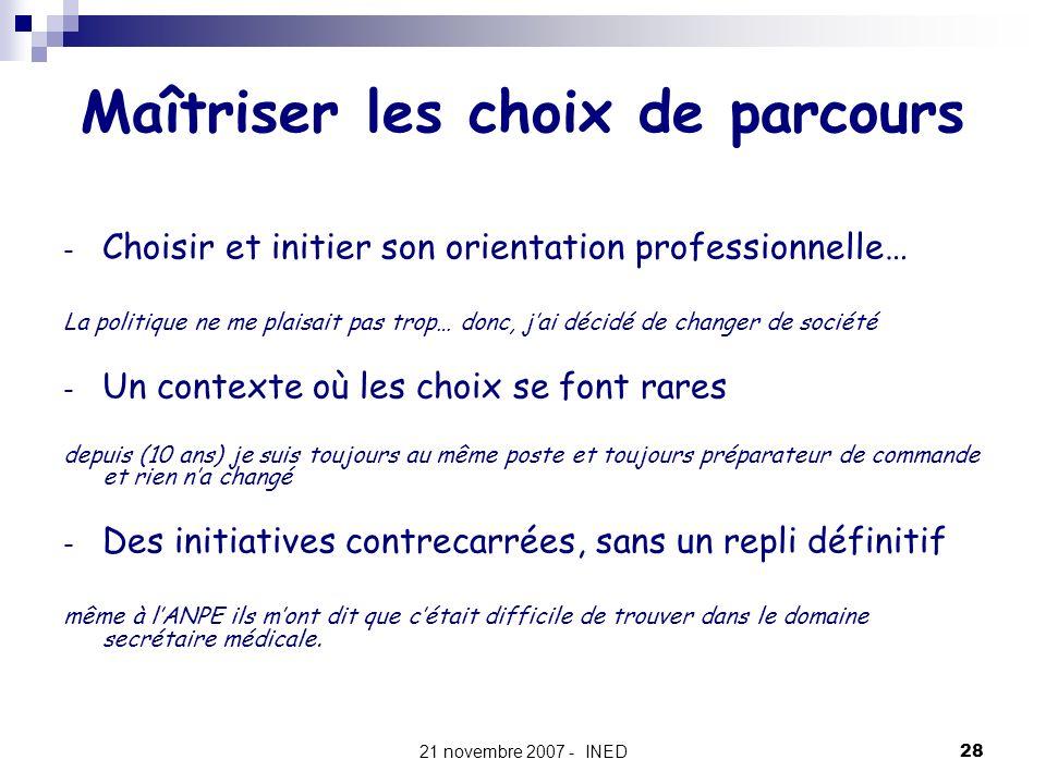 21 novembre 2007 - INED28 Maîtriser les choix de parcours - Choisir et initier son orientation professionnelle… La politique ne me plaisait pas trop…