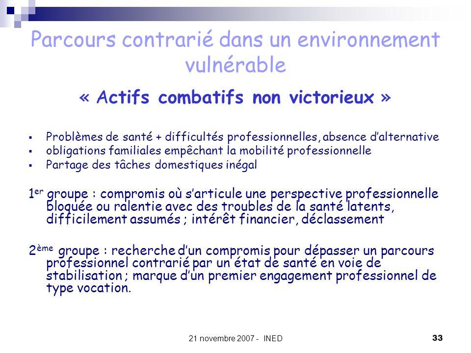 21 novembre 2007 - INED33 Parcours contrarié dans un environnement vulnérable « Actifs combatifs non victorieux » Problèmes de santé + difficultés pro