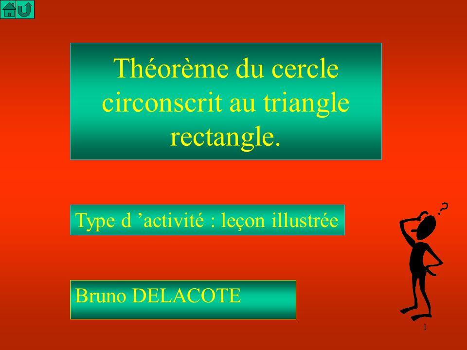 1 Théorème du cercle circonscrit au triangle rectangle.