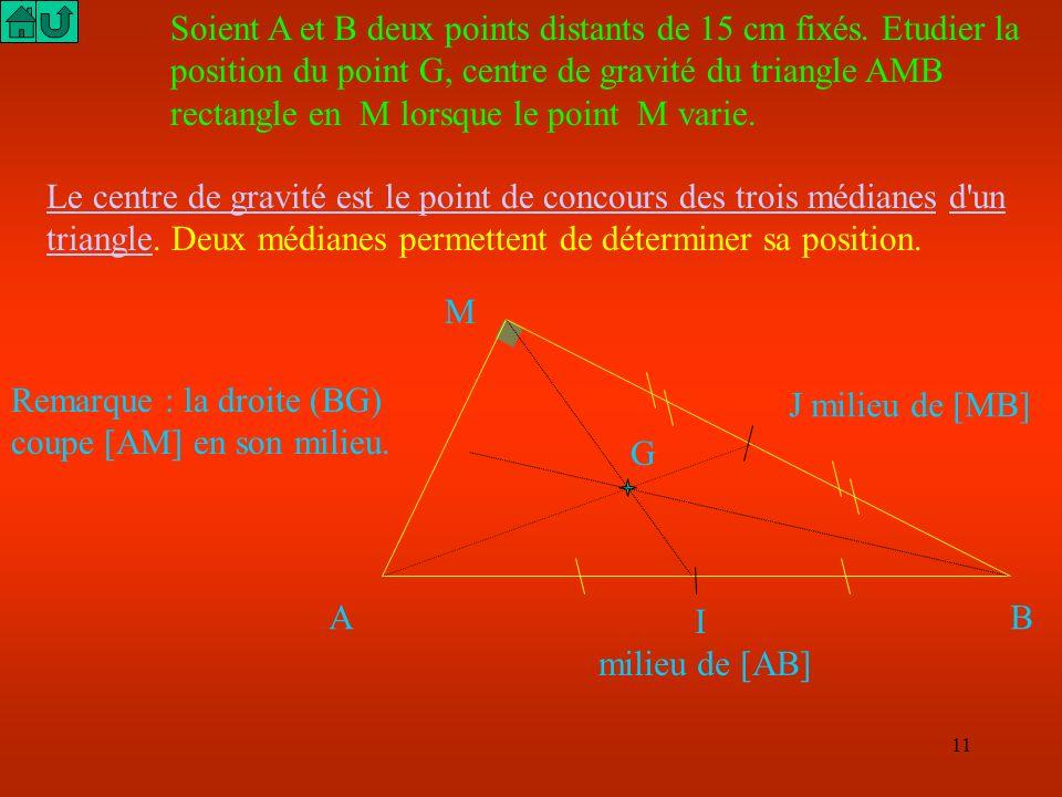 10 A B M C D Par définition de la symétrie centrale M est le milieu des segments [AC] et [BD] Or si les diagonales d un quadrilatère ont même milieu a