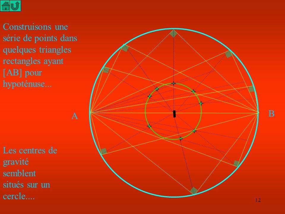 11 AB I milieu de [AB] G M J milieu de [MB] Soient A et B deux points distants de 15 cm fixés. Etudier la position du point G, centre de gravité du tr