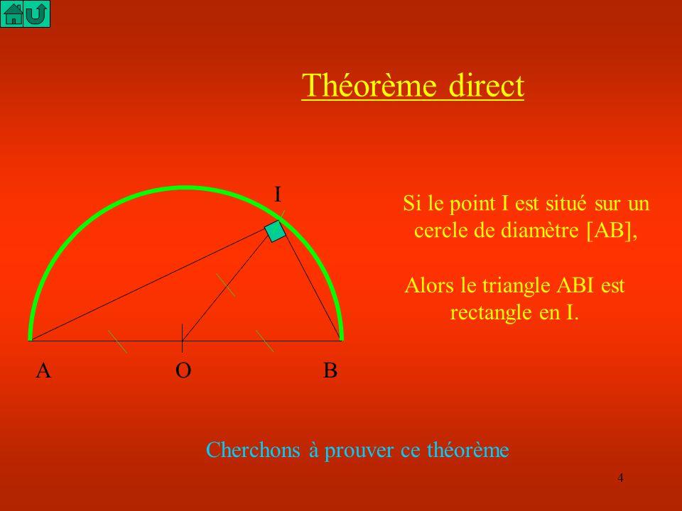 4 Théorème direct A O B I Si le point I est situé sur un cercle de diamètre [AB], Alors le triangle ABI est rectangle en I.