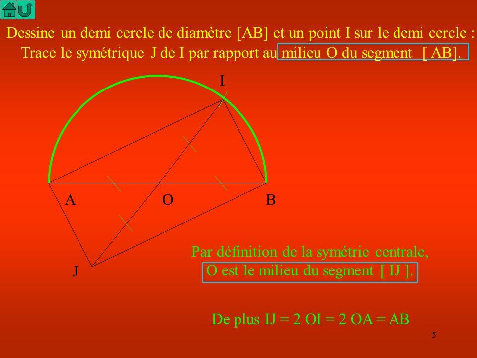5 Dessine un demi cercle de diamètre [AB] et un point I sur le demi cercle : J Par définition de la symétrie centrale, O est le milieu du segment [ IJ ].