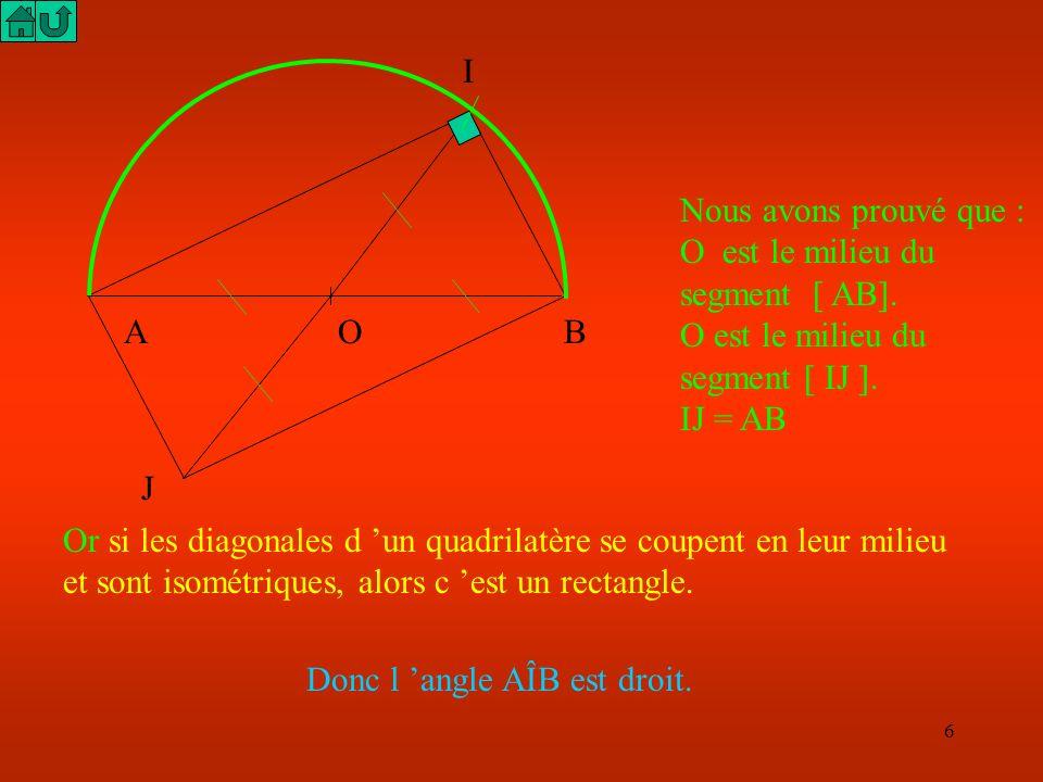 5 Dessine un demi cercle de diamètre [AB] et un point I sur le demi cercle : J Par définition de la symétrie centrale, O est le milieu du segment [ IJ