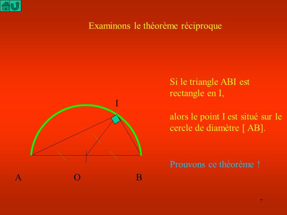 7 Examinons le théorème réciproque Si le triangle ABI est rectangle en I, A O B I alors le point I est situé sur le cercle de diamètre [ AB].