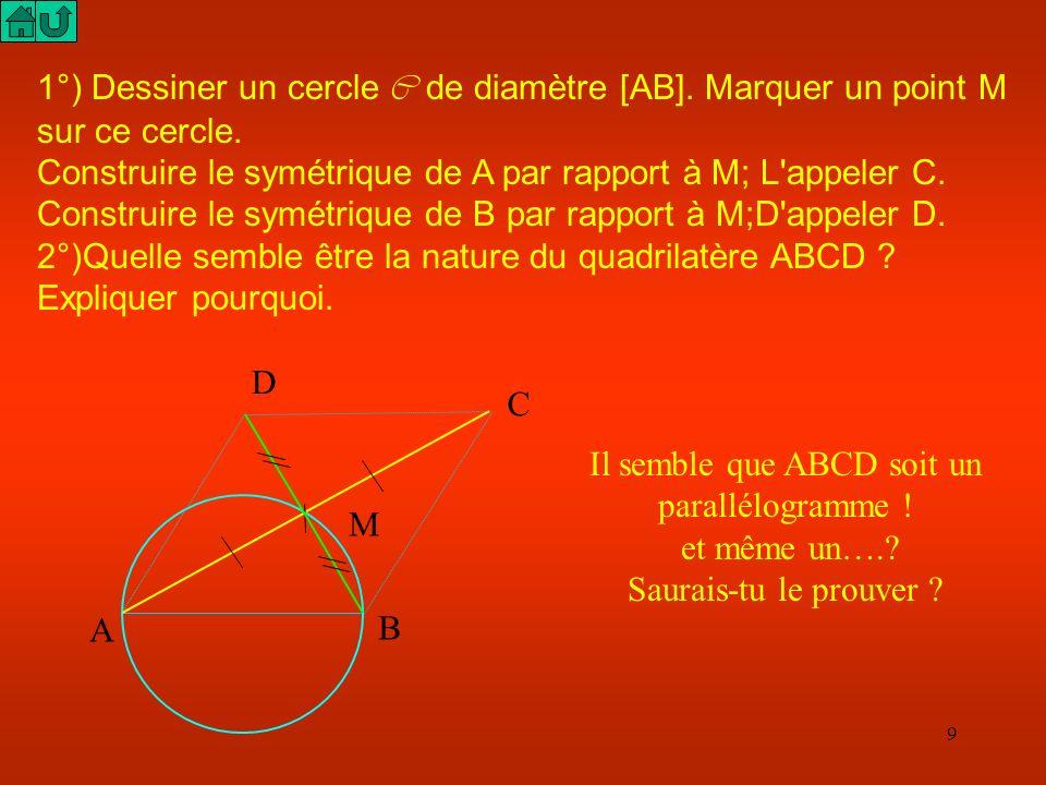 8 I O B J Traçons le symétrique J de I par rapport à O A Le quadrilatère AIBJ est un parallélogramme car ses diagonales ont même milieu. Or un parallé