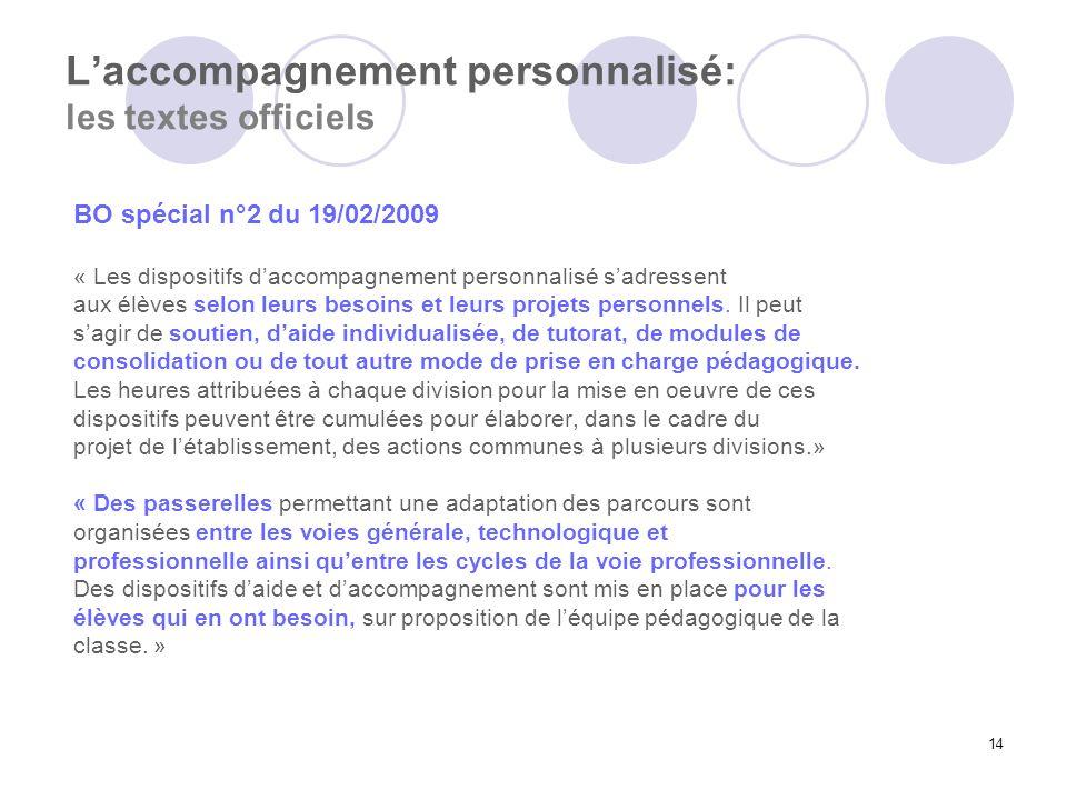 14 Laccompagnement personnalisé: les textes officiels BO spécial n°2 du 19/02/2009 « Les dispositifs daccompagnement personnalisé sadressent aux élève