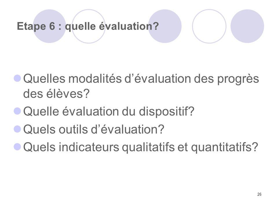 26 Etape 6 : quelle évaluation? Quelles modalités dévaluation des progrès des élèves? Quelle évaluation du dispositif? Quels outils dévaluation? Quels