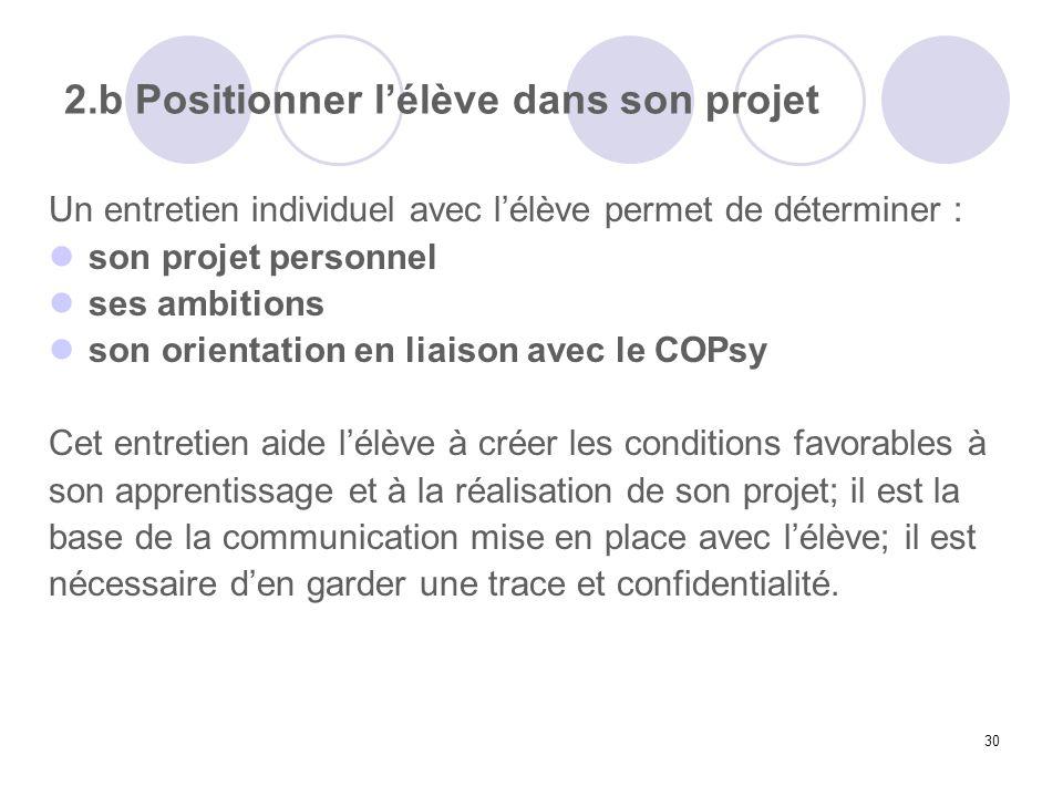 30 2.b Positionner lélève dans son projet Un entretien individuel avec lélève permet de déterminer : son projet personnel ses ambitions son orientatio