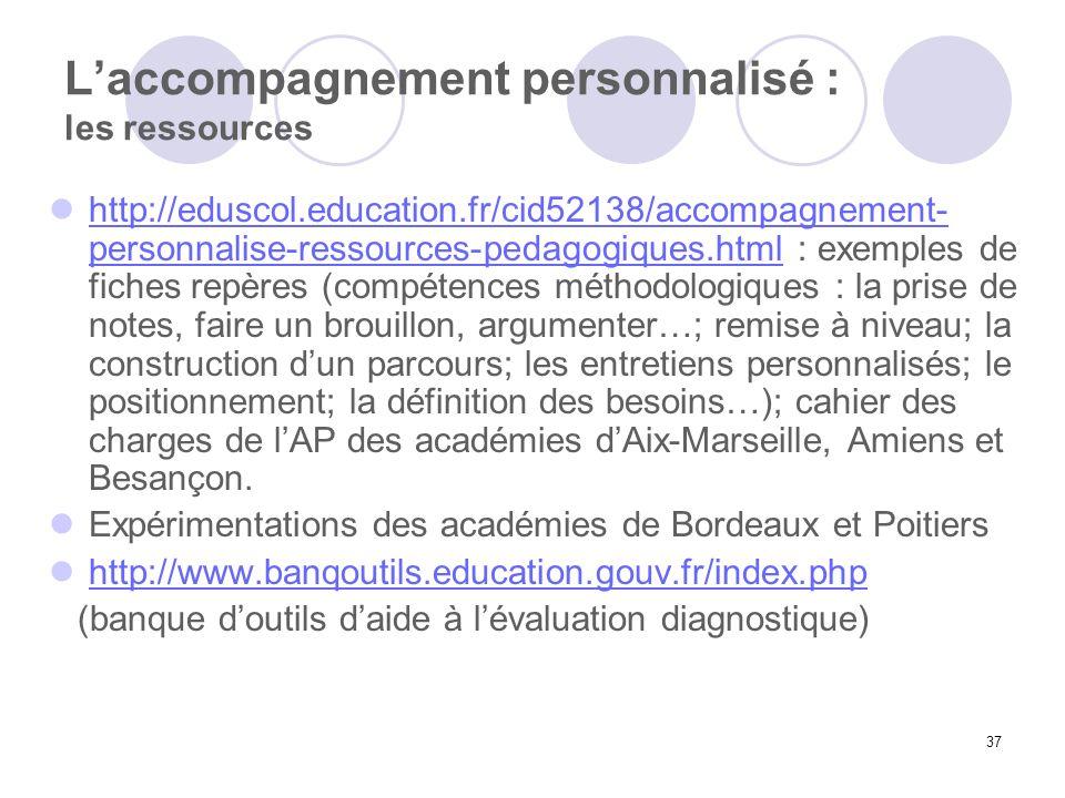 37 Laccompagnement personnalisé : les ressources http://eduscol.education.fr/cid52138/accompagnement- personnalise-ressources-pedagogiques.html : exem