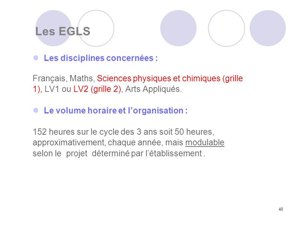 40 Les EGLS Les disciplines concernées : Français, Maths, Sciences physiques et chimiques (grille 1), LV1 ou LV2 (grille 2), Arts Appliqués. Le volume
