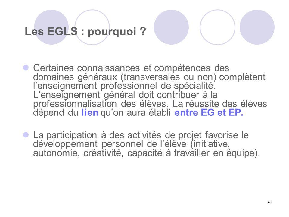 41 Les EGLS : pourquoi ? Certaines connaissances et compétences des domaines généraux (transversales ou non) complètent lenseignement professionnel de