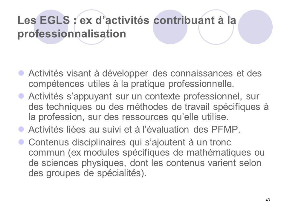 43 Les EGLS : ex dactivités contribuant à la professionnalisation Activités visant à développer des connaissances et des compétences utiles à la prati