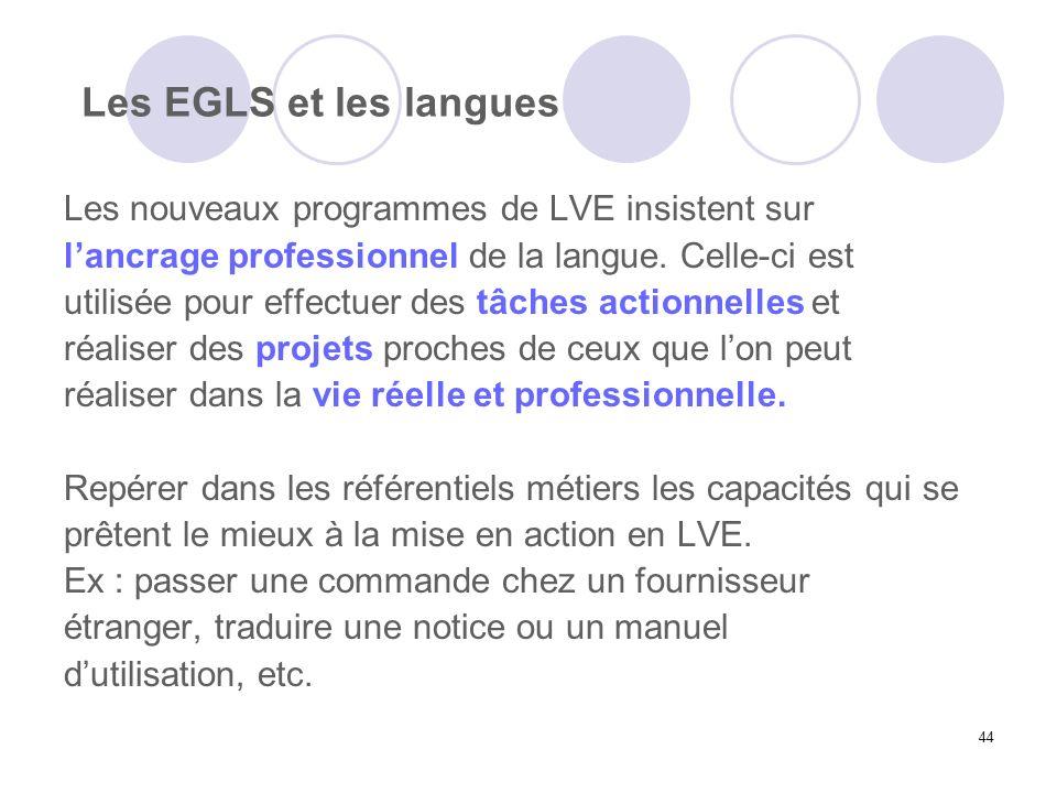 44 Les EGLS et les langues Les nouveaux programmes de LVE insistent sur lancrage professionnel de la langue. Celle-ci est utilisée pour effectuer des