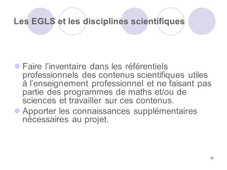 45 Les EGLS et les disciplines scientifiques Faire linventaire dans les référentiels professionnels des contenus scientifiques utiles à lenseignement