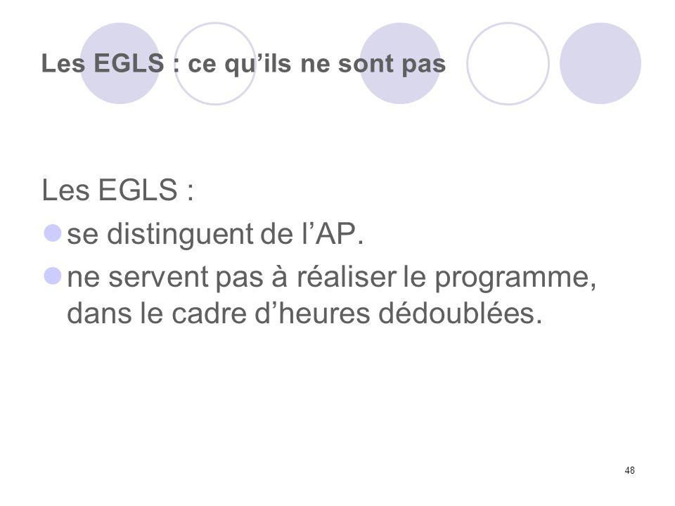 48 Les EGLS : ce quils ne sont pas Les EGLS : se distinguent de lAP. ne servent pas à réaliser le programme, dans le cadre dheures dédoublées.