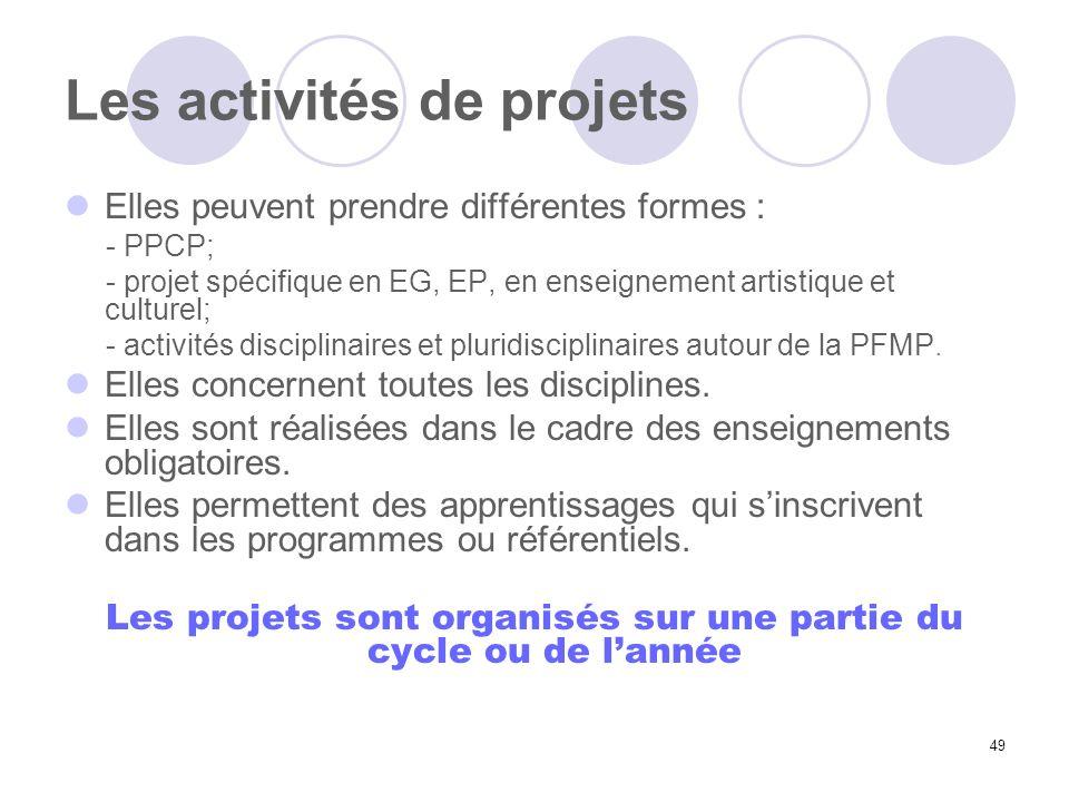 49 Les activités de projets Elles peuvent prendre différentes formes : - PPCP; - projet spécifique en EG, EP, en enseignement artistique et culturel;