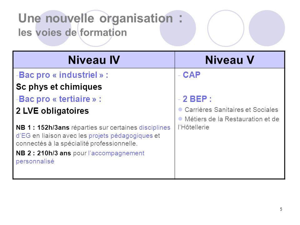 5 Une nouvelle organisation : les voies de formation Niveau IVNiveau V -Bac pro « industriel » : Sc phys et chimiques -Bac pro « tertiaire » : 2 LVE o