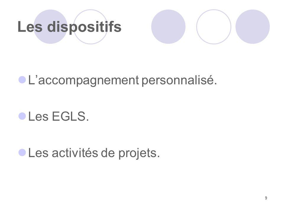 9 Les dispositifs Laccompagnement personnalisé. Les EGLS. Les activités de projets.