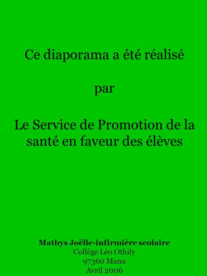 Ce diaporama a été réalisé par Le Service de Promotion de la santé en faveur des élèves Mathys Joëlle-infirmière scolaire Collège Léo Othily 97360 Man