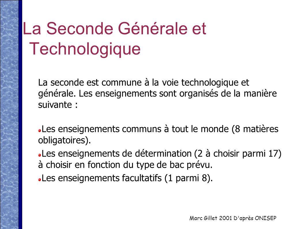Marc Gillet 2001 D'après ONISEP La Seconde Générale et Technologique La seconde est commune à la voie technologique et générale. Les enseignements son