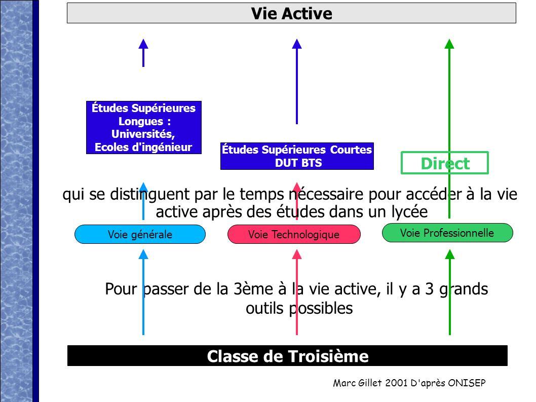 Marc Gillet 2001 D'après ONISEP Classe de Troisième Vie Active Pour passer de la 3ème à la vie active, il y a 3 grands outils possibles Voie Technolog