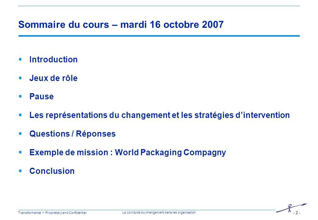 Transformance Proprietary and Confidential - 2 - La conduite du changement dans les organisation Sommaire du cours – mardi 16 octobre 2007 Introductio