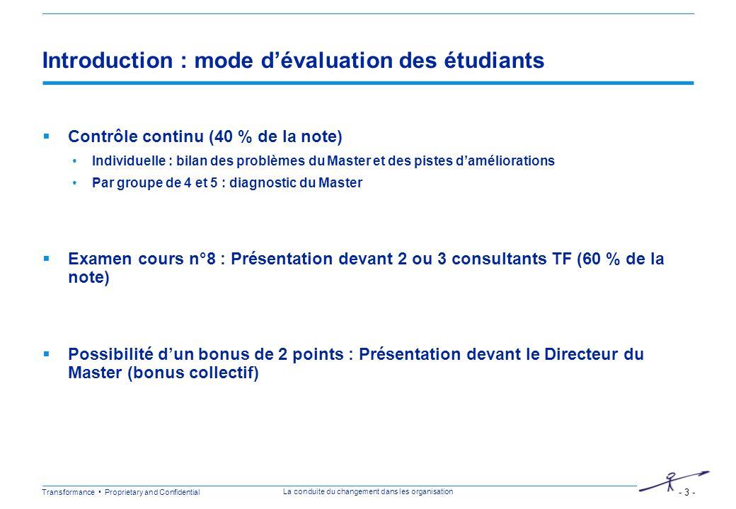 Transformance Proprietary and Confidential - 3 - La conduite du changement dans les organisation Introduction : mode dévaluation des étudiants Contrôl