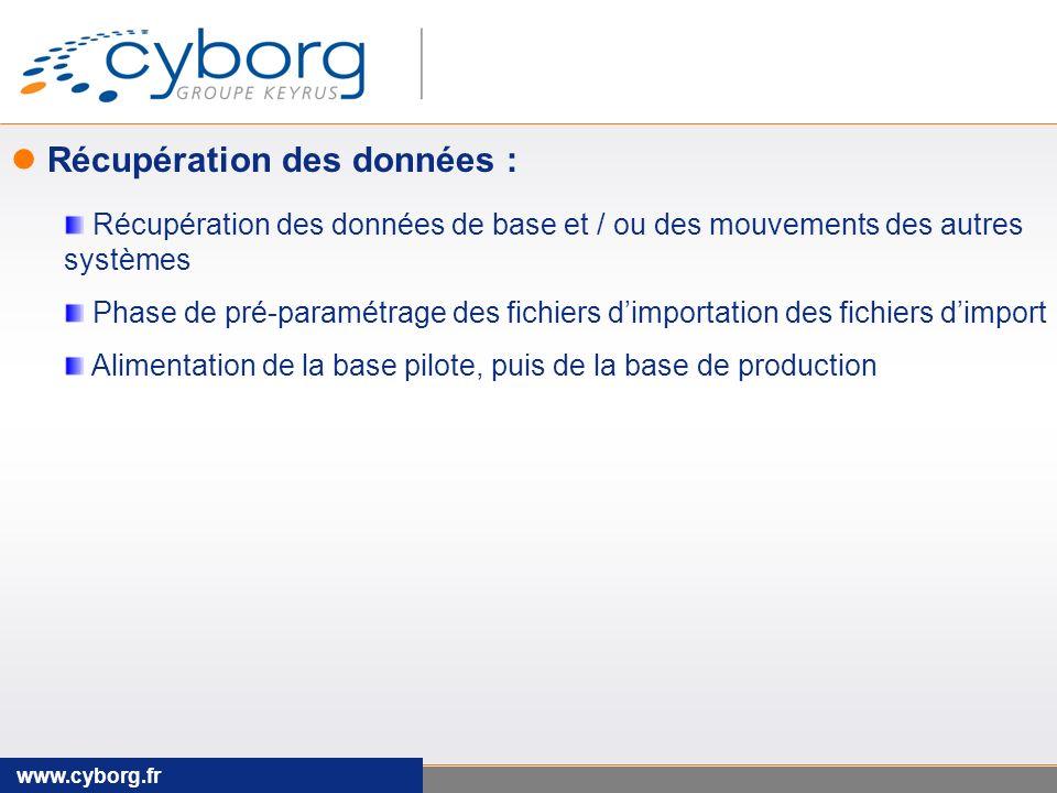 www.cyborg.fr Récupération des données : Récupération des données de base et / ou des mouvements des autres systèmes Phase de pré-paramétrage des fichiers dimportation des fichiers dimport Alimentation de la base pilote, puis de la base de production