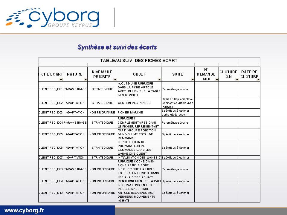 www.cyborg.fr Synthèse et suivi des écarts