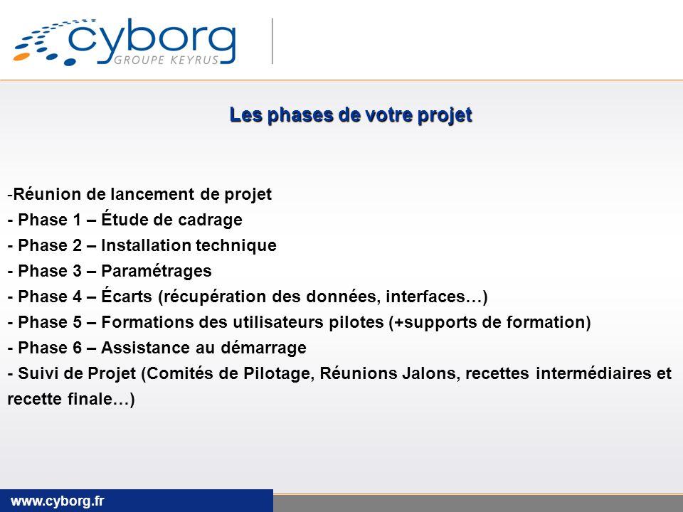 www.cyborg.fr -Réunion de lancement de projet - Phase 1 – Étude de cadrage - Phase 2 – Installation technique - Phase 3 – Paramétrages - Phase 4 – Écarts (récupération des données, interfaces…) - Phase 5 – Formations des utilisateurs pilotes (+supports de formation) - Phase 6 – Assistance au démarrage - Suivi de Projet (Comités de Pilotage, Réunions Jalons, recettes intermédiaires et recette finale…) Les phases de votre projet