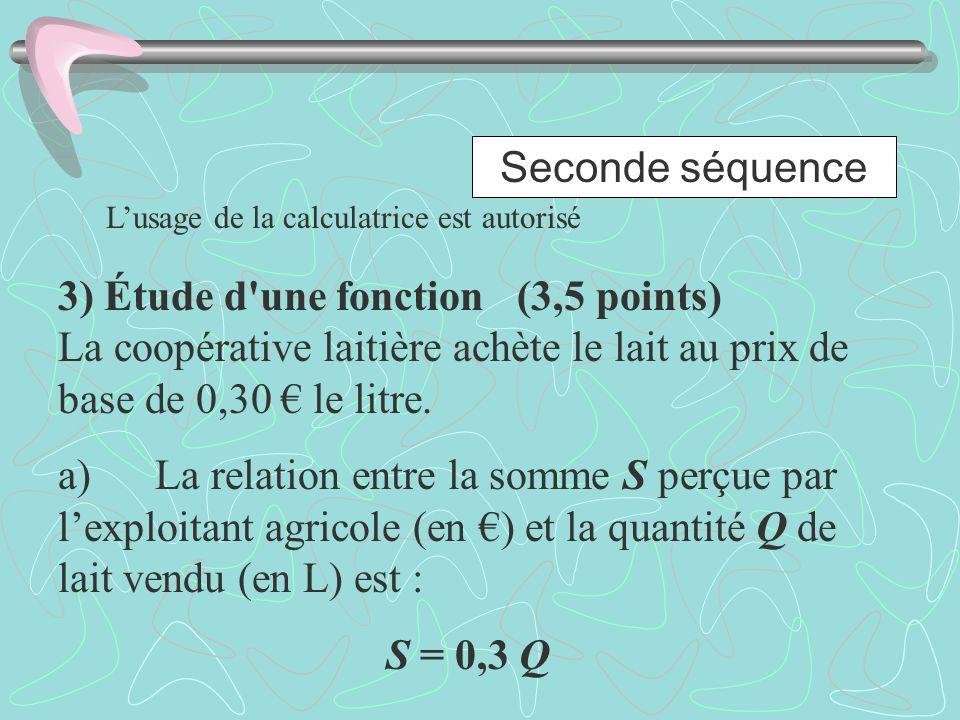 Seconde séquence Lusage de la calculatrice est autorisé 3) Étude d'une fonction (3,5 points) La coopérative laitière achète le lait au prix de base de