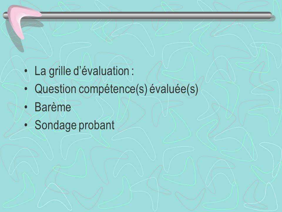 La grille dévaluation : Question compétence(s) évaluée(s) Barème Sondage probant