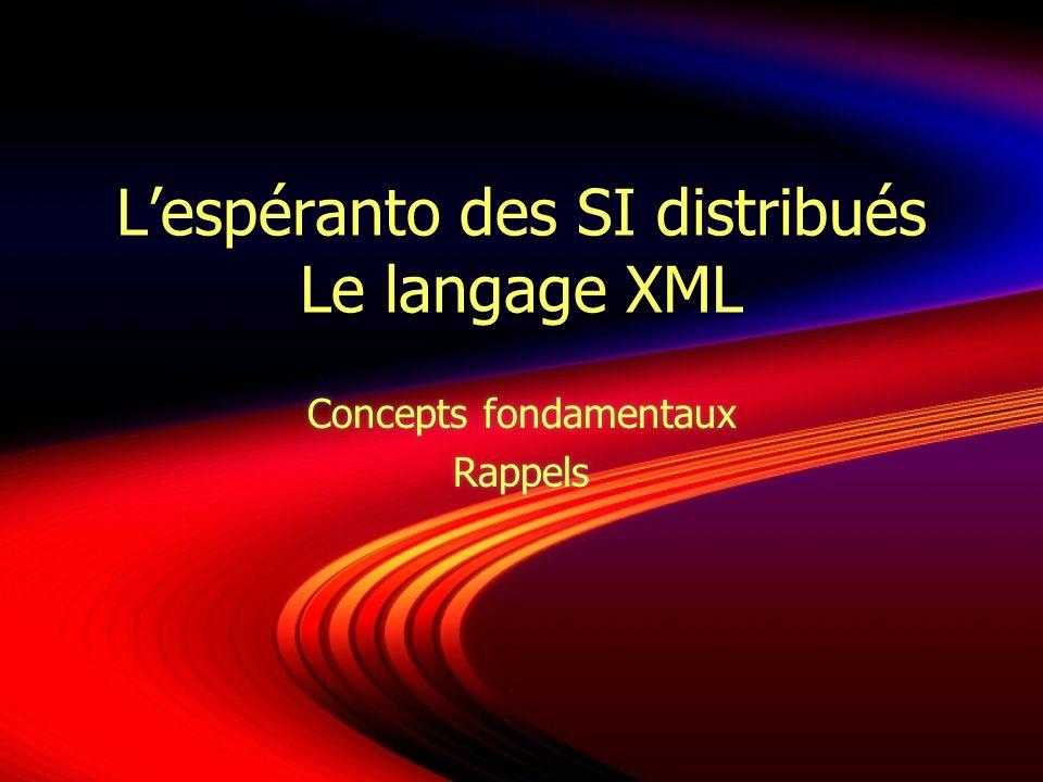eXtensible Markup Language Sous-ensemble de SGML Plus généraliste, moins complexe… Orienté « Web » Recommandation du W3C (1996 XML 1.0) A la base de plus de 150 dialectes