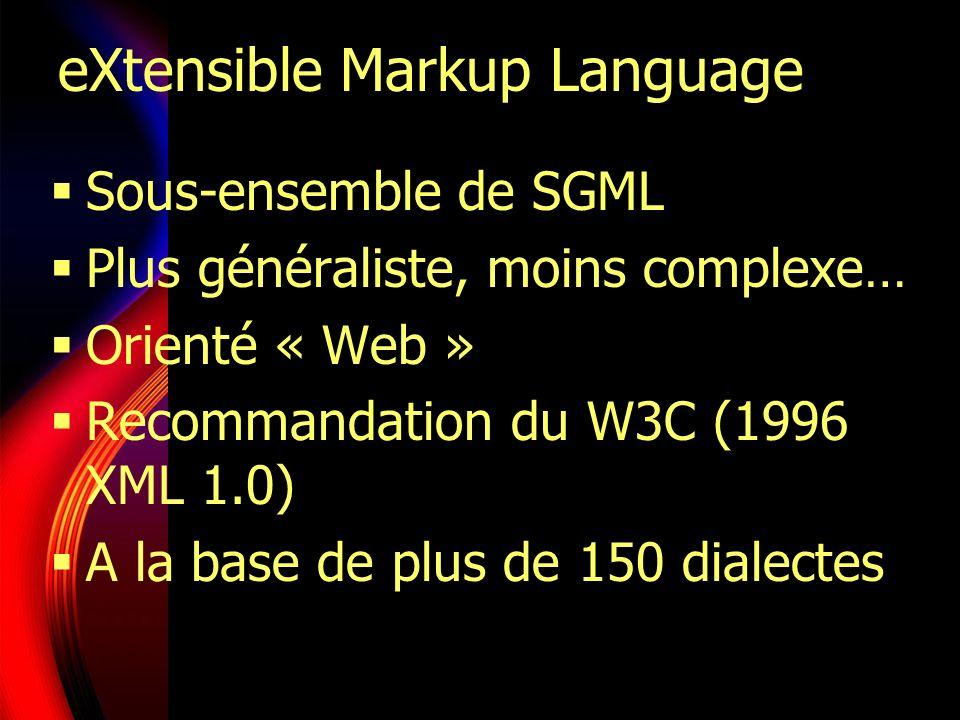 XML et ses dialectes dérivés XML META DTD Schémas Parcours Transform.