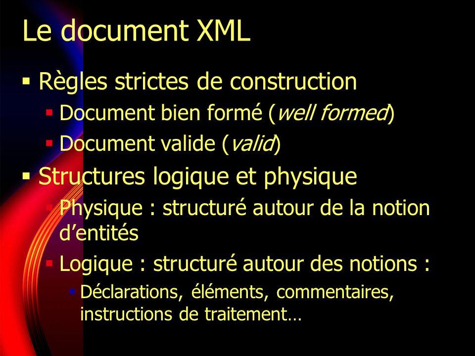 Structure du document XML Un prologue Des entités imbriquées, structurées hiérarchiquement Un élément racine unique Chaque élément : Nom, attributs (facultatifs) Contenu (des éléments ou du texte) Prologue