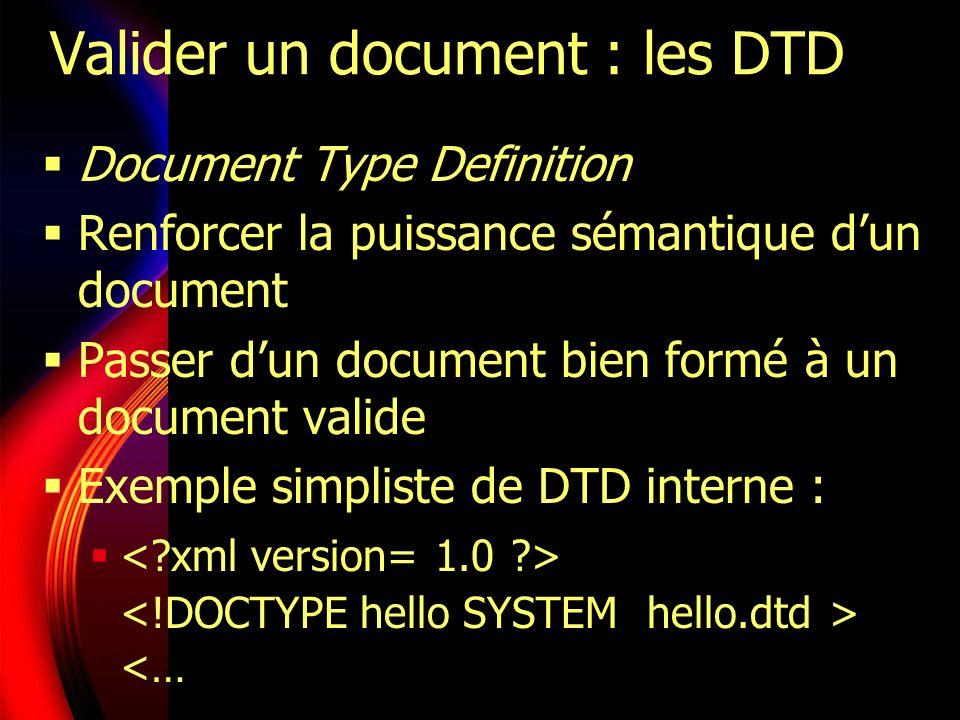 Exemple de DTD interne ]> Bonjour à tous Si les deux déclarations (internes et externes) sont utilisées, les déclarations internes sont prioritaires