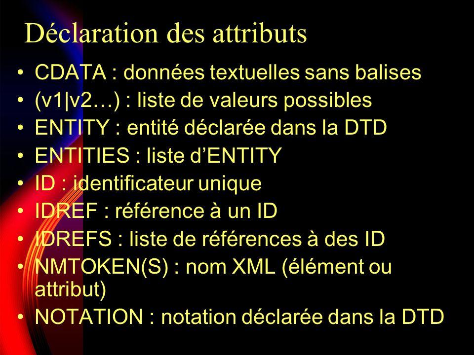Déclaration des attributs #REQUIRED : valeur requise #IMPLIED : valeur facultative #FIXED valeur : valeur obligatoire et fixée Exemple complet contenant une erreur :
