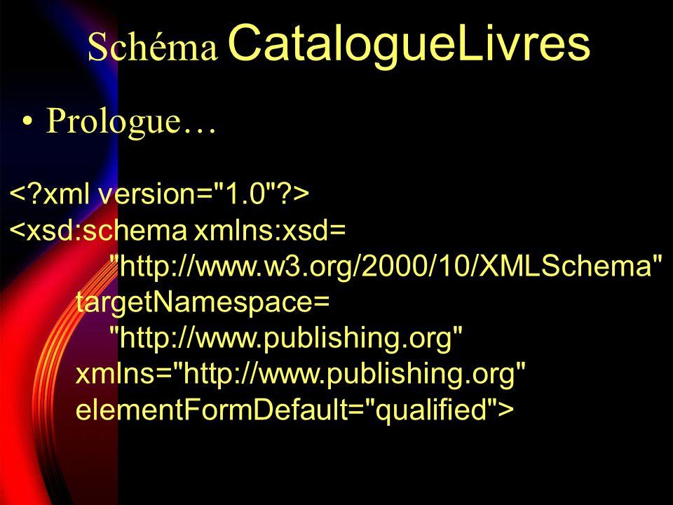 Schéma CatalogueLivres Déclaration de lélément racine…