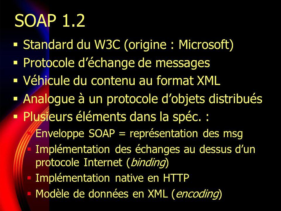 SOAP : en route vers la maturité Évolution rapide du standard Ancêtre : XML-RPC (www.xmlrpc.com/spec) SOAP 1.1 en mai 2000 (www.w3.org/…) Modèle de données supportant les entiers, réels, booléens, chaînes et dates Structures, tableaux, listes, pointeurs Un protocole basique : POST HTTP SOAP 1.2 en décembre 2002 Modularité et abstraction Séparation modèle de données de représentation en XML